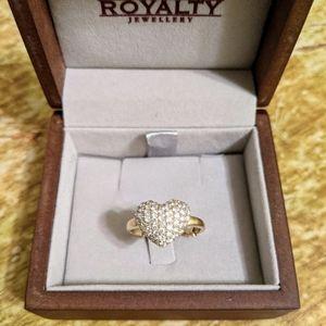 18k natural diamond pave heart ring